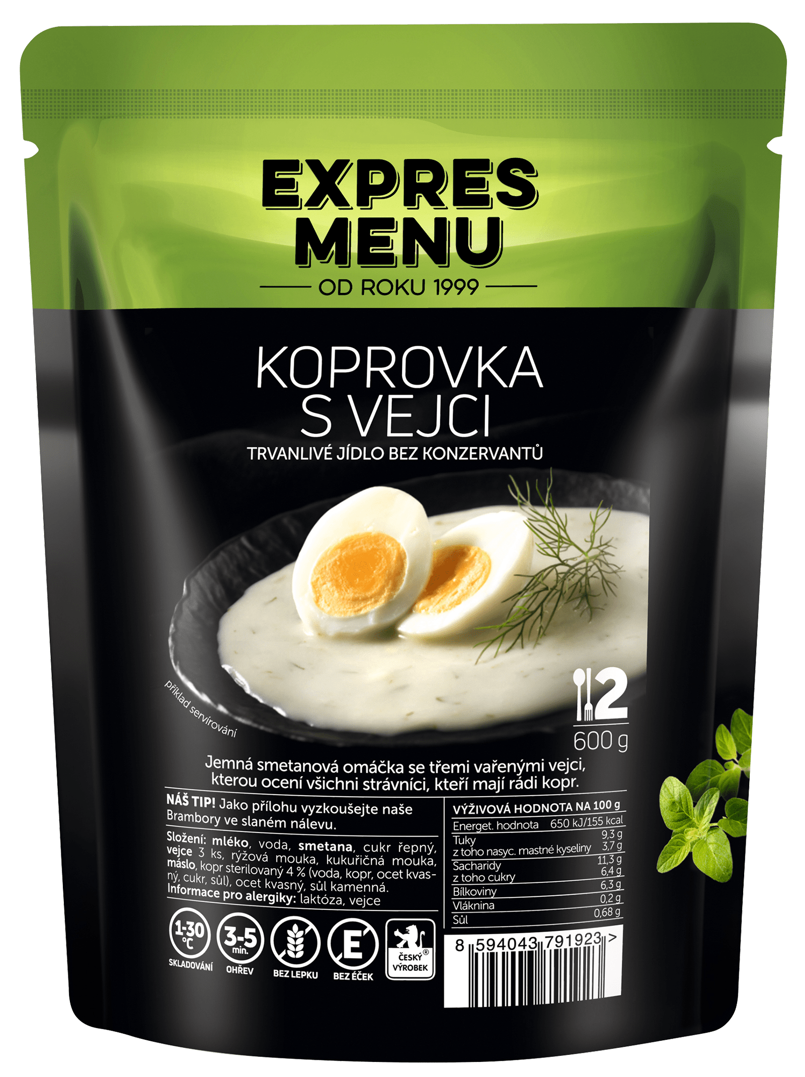 KOPROVKA S VEJCI 600G (2 PORCE)